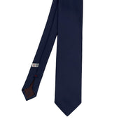 Blue plain pure silk hand made tie- Fumagalli 1891