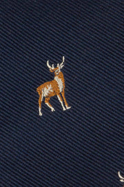 Blue deer jacquard pure silk hand made tie - Fumagalli 1891