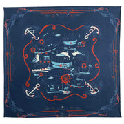 Blue sea design silk & cotton pocket square  - Fumagalli 1891