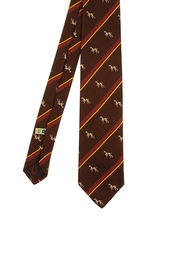 brown striped dog pattern silk hand made tie - Fumagalli 1891