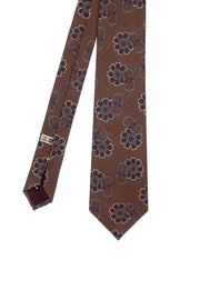 Brown flower & paisley patterned printed silk hand made tie - Fumagalli 1891