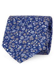 Blue & white floral printed silk hand made tie - Fumagalli 1891
