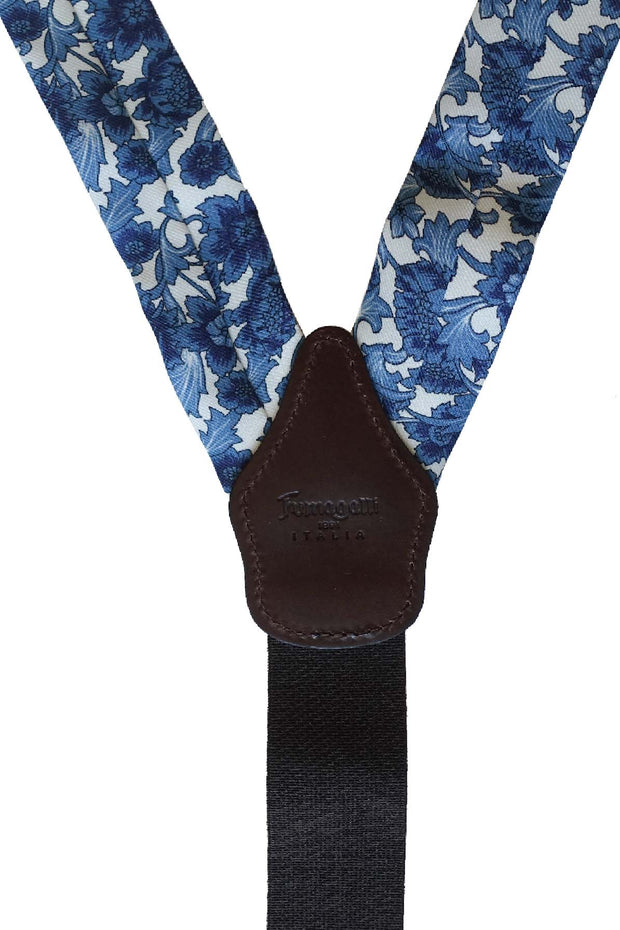 the vision of the leather, the elastic band and the pure silk with pèrinted on it a floral design