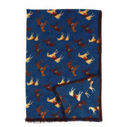 Fringed blue horses wool hand made scarf - Fumagalli 1891