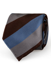 hand made stirped regimental brown light blue and grey striped luxury silk tie