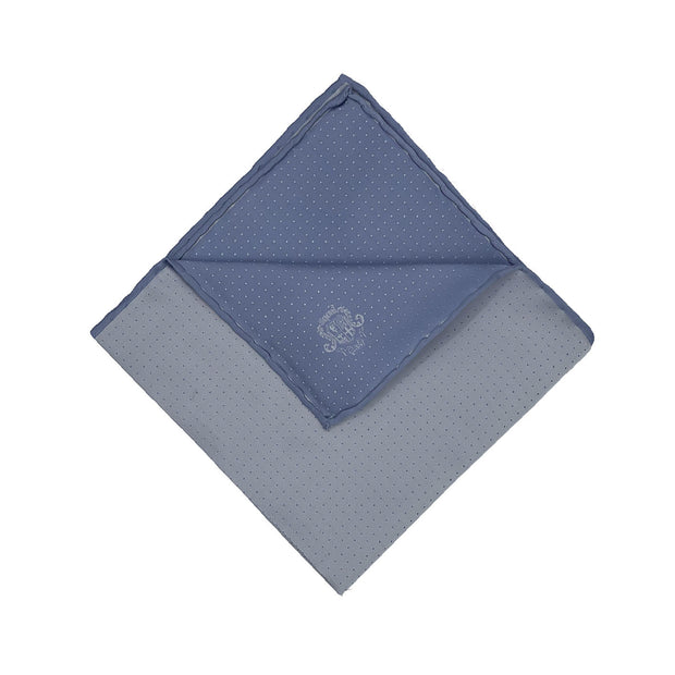Light blue little dots pure selected silk event handmade pocket square - Fumagalli 1891