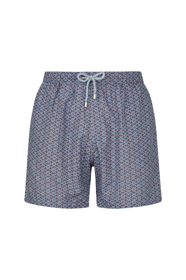 Diamond pattern light blue & brown swim shorts -Fumagalli 1891