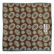 Brown patterned silk pocket square  - Fumagalli 1891