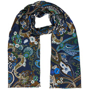 Blue paisley & floral silk & cotton fringed scarf - Fumagalli 1891