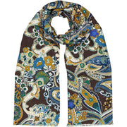 Brown paisley & floral silk & cotton fringed scarf - Fumagalli 1891