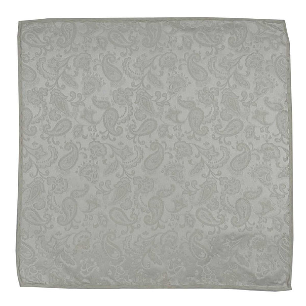 white cream paisley pattern jacquard wedding pure silk handmade pocket-square- Fumagalli 1891
