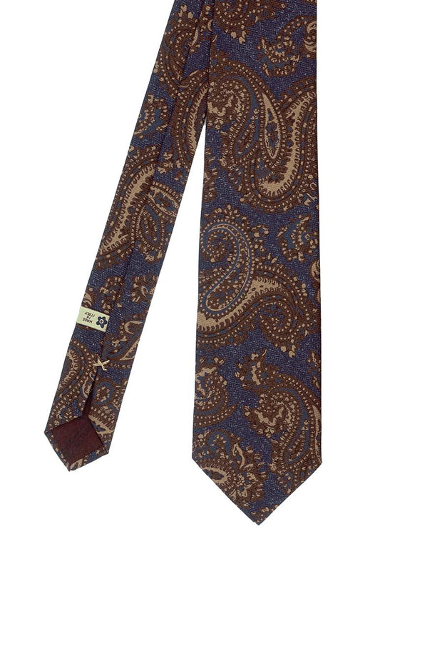 BLUE BIG PAISLEY PATTERN PRINTED PURE SILK HAND MADE TIE - FUMAGALLI 1891