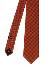 Orange little dots printed silk & wool hand made tie- Fumagalli 1891