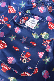 Blue polyester fishes printed swim shorts - Fumagalli 1891