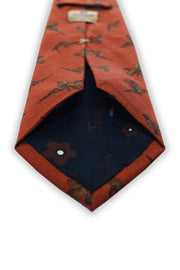 Orange animal printed pure silk hand made tie - Fumagalli 1891