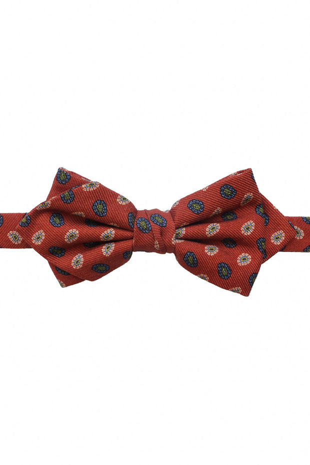 orange asymetric paisley bow tie
