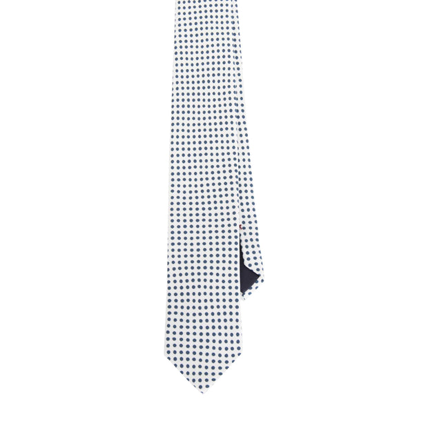 WHITE & BLUE PRINTED CLASSIC LITTLE PATTERN VINTAGE SILK HAND MADE TIE - Fumagalli 1891