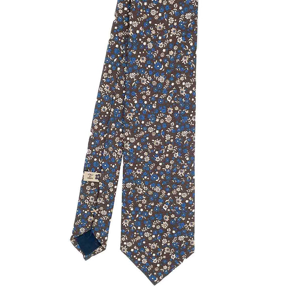 Brown & blue floral printed silk hand made tie - Fumagalli 1891