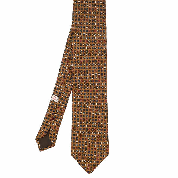 Beige micro patterned printed silk hand made tie - Fumagalli 1891