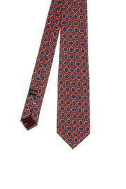 BRICK RED & BLUE DIAMONDS PATTERN SILK & WOOL PRINTED HAND MADE TIE