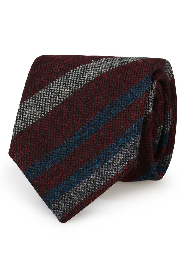 Striped red donegal hand made pure wool tie - Fumagalli 1891