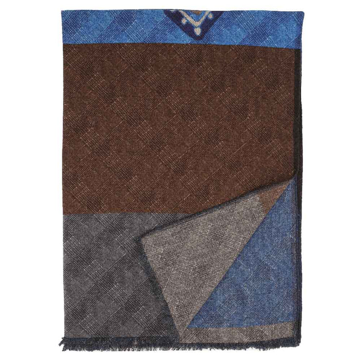 Fringed brown blue, grey & light blue wool hand made scarf - Fumagalli 1891