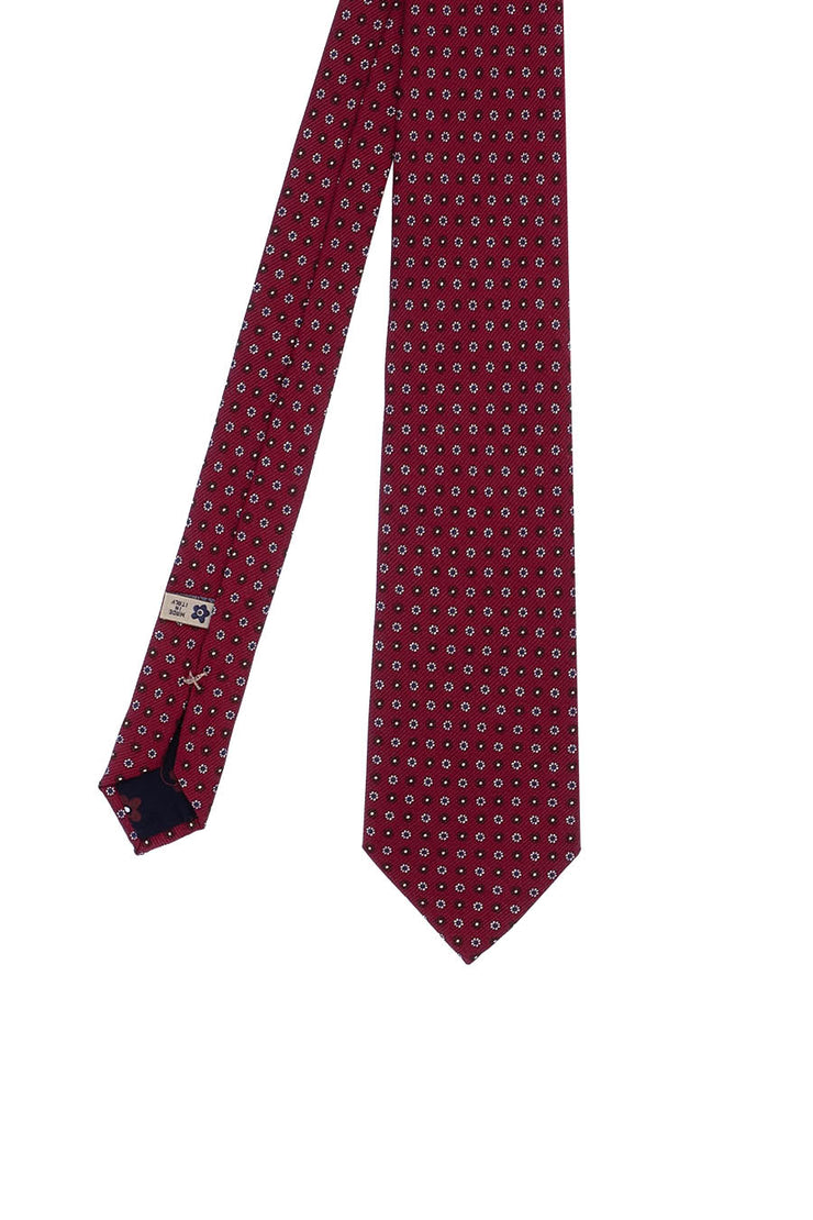 Red,brown & white floral printed ultra soft silk hand made silk tie - Fumagalli 1891
