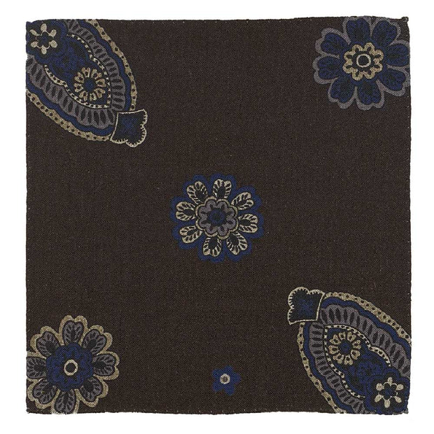 BROWN FLORAL WOOL HANDMADE POCKET SQUARE- FUMAGALLI 1891