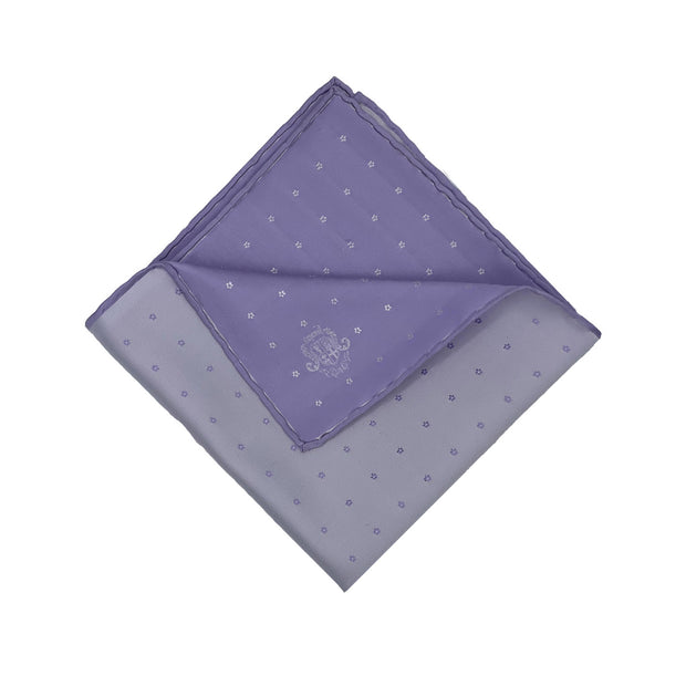 purple little floral pure selected silk event handmade pocket square - Fumagalli 1891