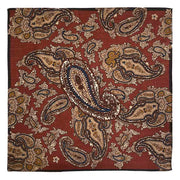 Red brick macro paisley wool hand made foularino - Fumagalli 1891