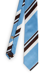 hand made tie with little stripes white & brown, the biggest tie are light blue