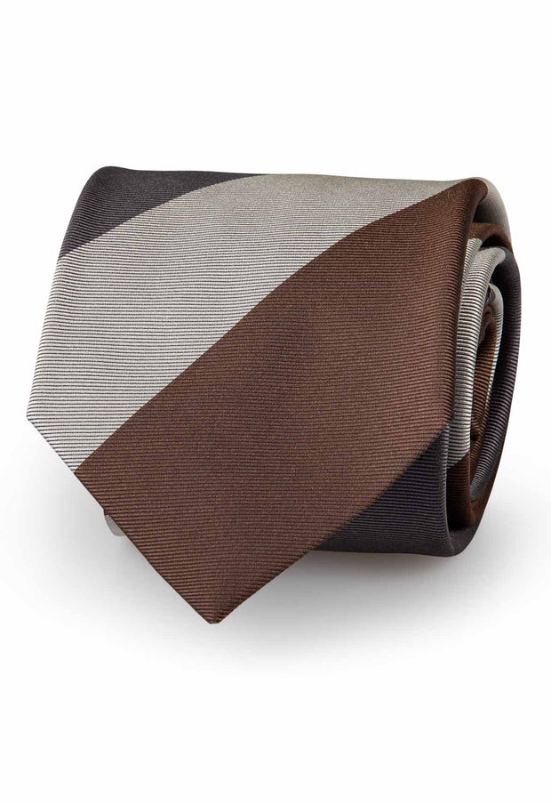 handmade tie with brown, light brown and grey striped