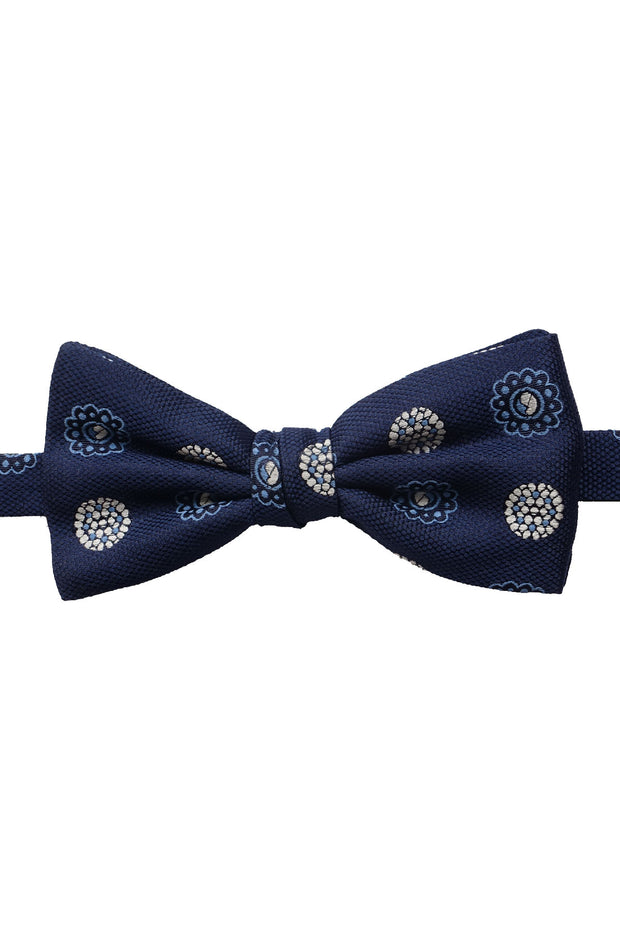 Blue diamonds jacquard ready-tie bow tie - Fumagalli 1891