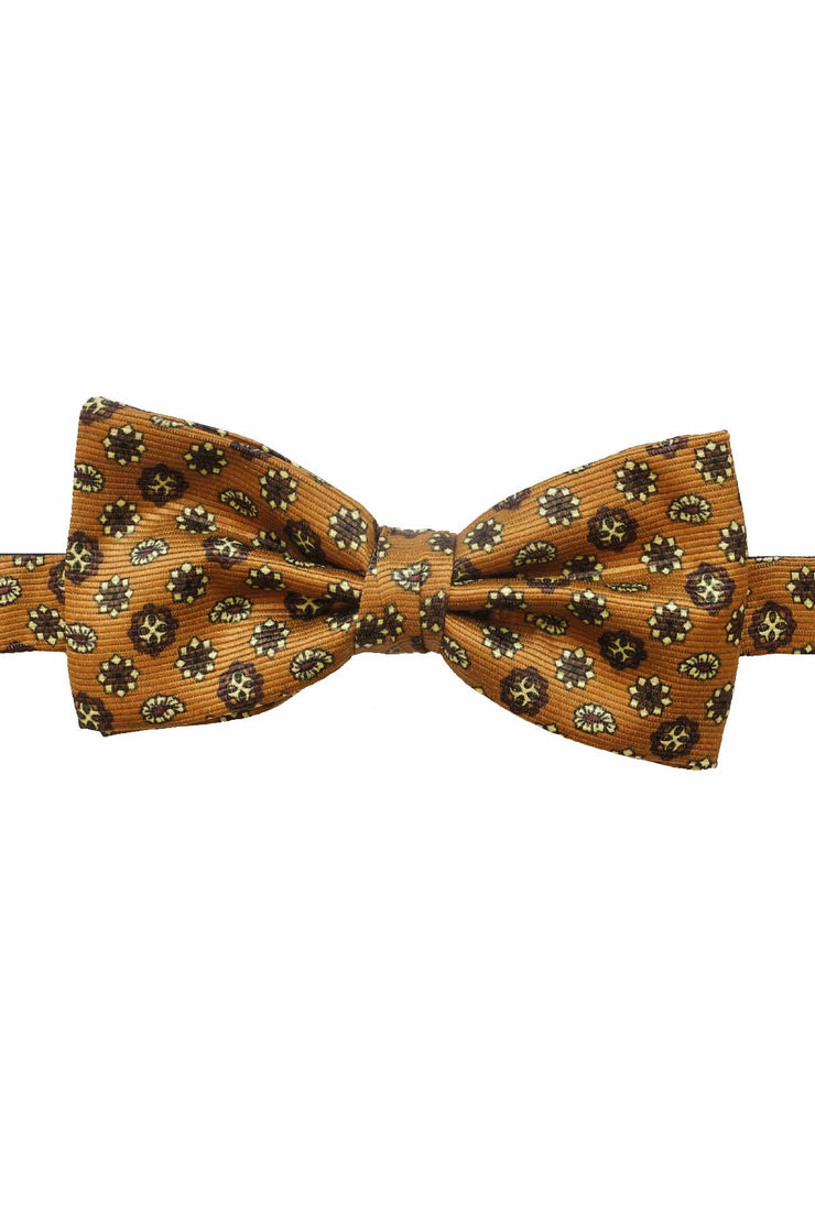 paisley and diamonds hand made silk bow tie ready tied with a sand brown background