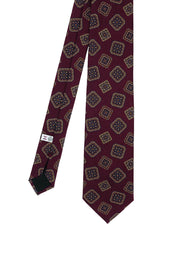 Burgundy diamonds printed pure silk hand made tie - Fumagalli 1891