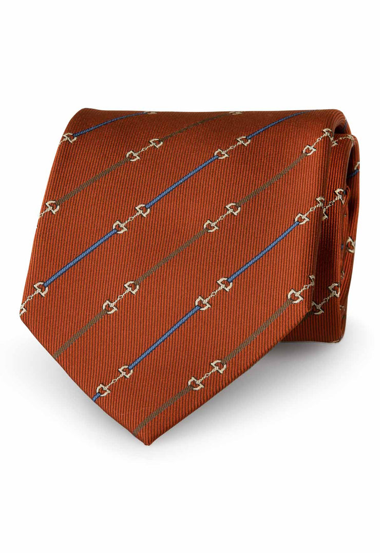 orange silk tie with little stripes brown and blue