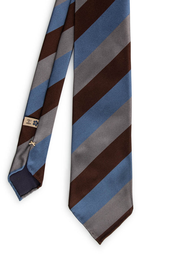 striped tie with three different colours: brown grey and light blue
