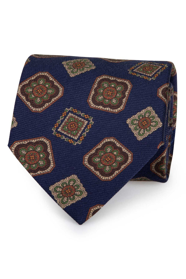 BLUE DIAMONDS PRINTED PURE SILK HAND MADE TIE - FUMAGALLI 1891