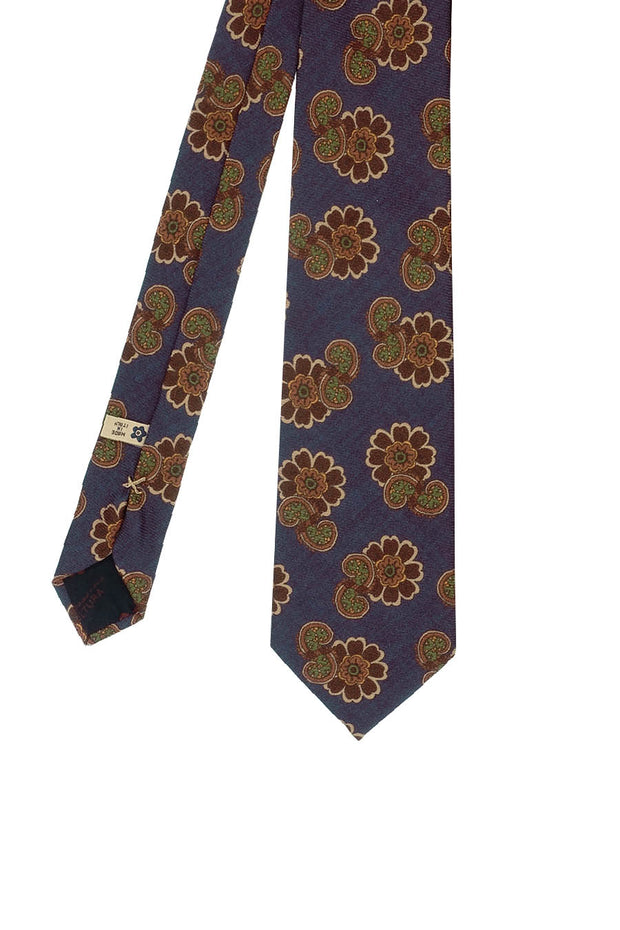 Blue, brown & green flower & paisley pattern silk printed hand made tie - Fumagalli 1891