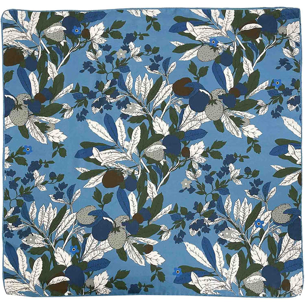 Light blue macro floral silk & cotton handmade foularino-Fumagalli 1891