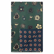 Green & blue floral & dots double silk scarf - Fumagalli 1891