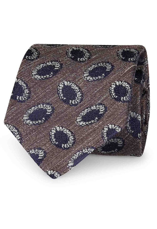 BROWN, WHITE & BLUE VINTAGE SILK & LINEN HAND MADE TIE - Fumagalli 1891
