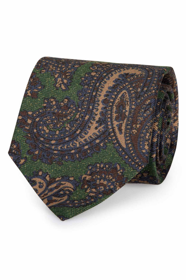 green background with brown and light brown paisley big pattern