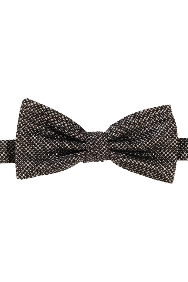 black background, White pattern on a jacquard silk ready tie bow tie