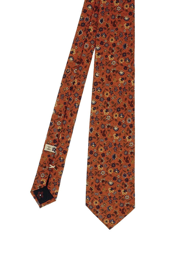 Orange floral design printed silk handmade tie - Fumagalli 1891