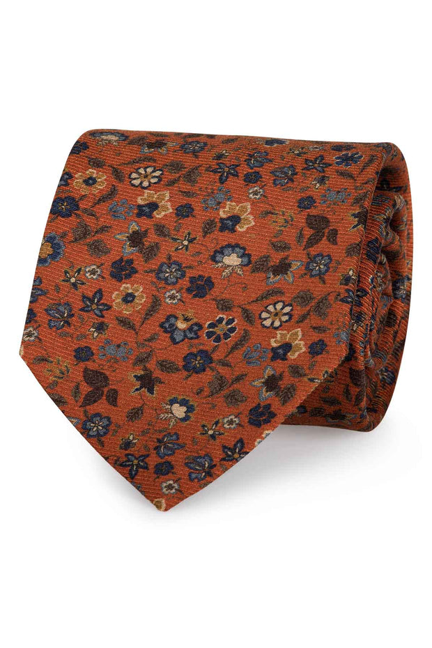 Orange silk floral blue and yellow design