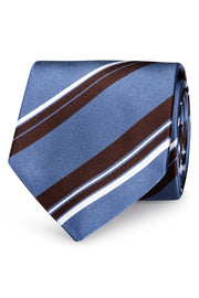 silk striped hand made tie with big light blue stripes and little brown and white