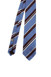 Light blue, white and brown printed striped silk handmade tie - Fumagalli 1891