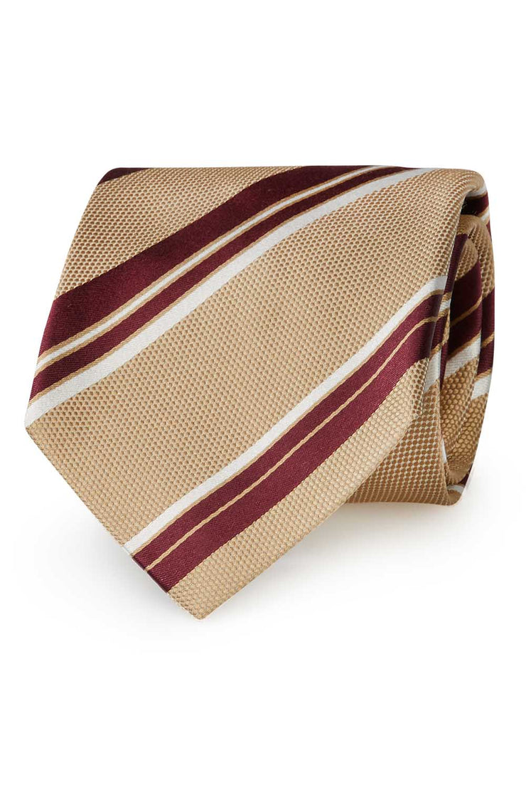 Beige, white &burgundy asymmetrical striped silk hand made tie - Fumagalli 1891
