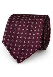 handmade luxury tie with little brown and sand brown diamond jacquard pattern